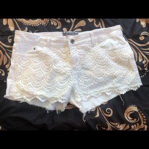 White Denim Lace Shorts